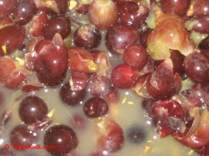Closeup shot of the ruptured grapes